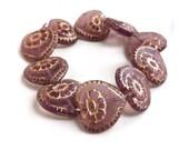 Purple Heart Beads Amethyst w Gold Inlay Glass Valentine's Day Big Size