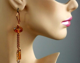 Super Long Swarovski Copper, Silver and Gold Shade Crystal and Copper Chain