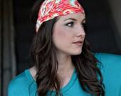Women's Red Ikat Bandana Headbands, Extra Wide Headbands