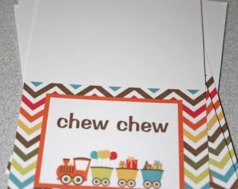 Choo Choo Train Chevron Food Table Tent Cards / Train Tent Cards / Train Food Labels / Train Food Tents / Train Labels /Train Birthday Party
