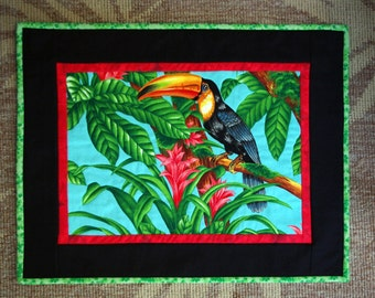 Toucan Quilted Wall Hanging, Jungle, Flowers, Tropical, Quiltsy Handmade