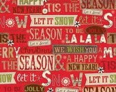 LAST 35 Inches - Holiday Stitches - By SPX Fabrics - Red - 4.50 Dollars