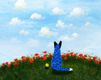 Australian Cattle Dog folk art print by Todd Young SUMMER SKY