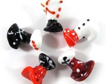 Lampwork beads set, lampwork glass beads, Japanese Dresses Beads, red, white, black (5) SRA