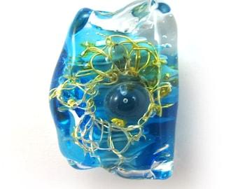 Lampwork bead, Handmade lampwork bead  glass, Lampwork beads, focal, silvered flower in turquoise  (1) SRA