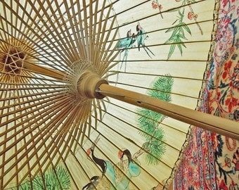 HUGE Vintage Paper Parasol, Extra Large Chinese Parasol, Chinoiserie Decor, Chinese Umbrella, Rice Paper and Bamboo Parasol, Painted Cranes