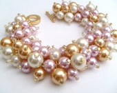 Pearl Beaded Bracelet, Bridesmaids Gifts, Chunky Bracelets, Pearl Jewelry, Ivory Champagne Gold Pink Bracelet, Cluster Bracelet, Wedding