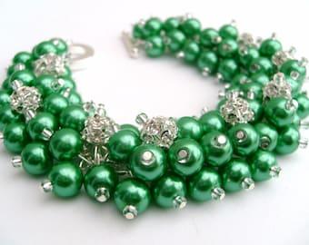 Bridal Jewelry, Wedding, Pearl Bridesmaid Bracelet, Pearl and Rhinestone Bracelet, Cluster Bracelet, Pearl Bracelet, Kelly Green Jewelry