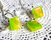 Fused Dichroic Glass & Sterling Silver Stud Earrings and Pendant Necklace Set - Gift Boxed - Bright Lime Green with Flashes of Fiery Orange