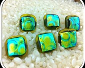 Set 6 Dichroic Glass Buttons with Gold Loop Back Shanks - Green Gold Blue Iridescent Colours Metallic Effect Pattern - 13mm squared