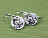 Tiny Fox Earrings in Sterling Silver