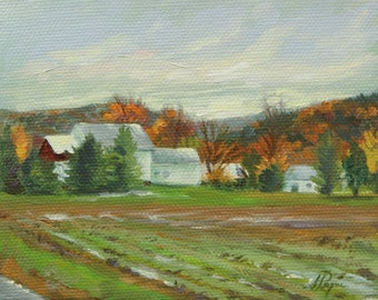 Small Original Oil Painting - Farmhouse After the Rain