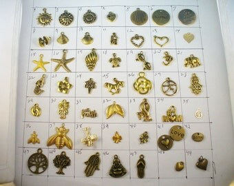 Add Gold Plated or Antique Brass Charms To Any Bangle Purchased From This Shop, 78+Charms Available / Trend Inspired Bangle