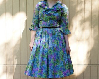 Vintage 60s dress/ Green/ Ruffles/ Mad Men style