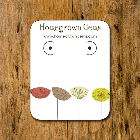Earring Cards Customized Personalized Dandelions Flowers Colorful 00090