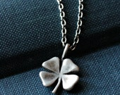 Oxidized Sterling Silver Four Leaf Clover Necklace - RUSTIC SHAMROCK