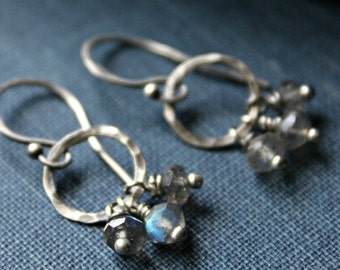 Trey Earrings - Labradorite and Sterling Silver
