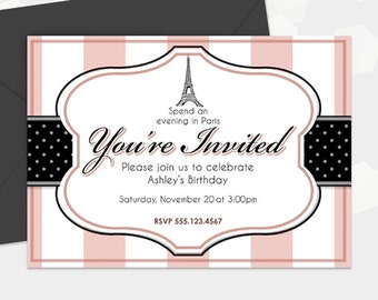 Paris Invite Themed Party Invitation - Birthday Shower Cocktail Invite - Customized - DIY Printable