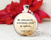 Round Medium Glass Bubble Pendant Necklace- Be Yourself Quote 1