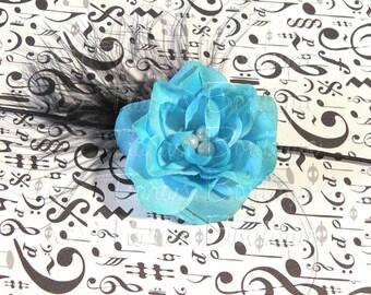 Newborn Photo Prop, Flower Headband, Black White Turquoise Blue Rose Headband w/ Marabou Feather and Pearls, Headband for baby, girls, women