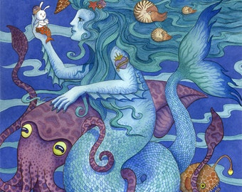 "Mermaid Gift Squid Sea Life Art Print 16""x20"" Limited Edition"