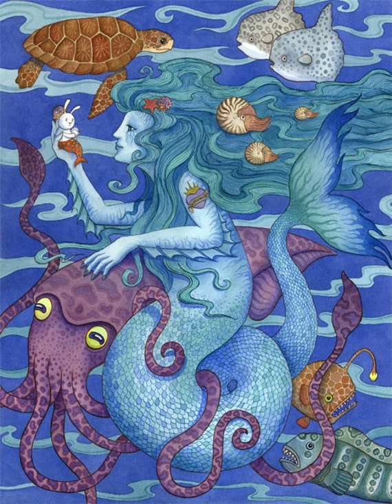 Mermaid gift squid sea life art print 16x20 for Sea life paintings artists