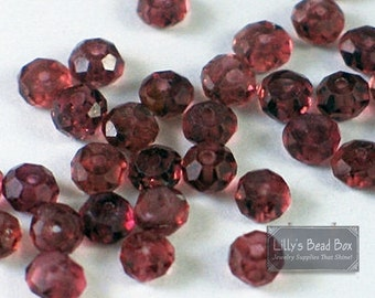 Natural Garnet Beads, Tiny Garnet Rondelle, 20 Count Garnet Beads for Making Jewelry, 3-3.5mm Gemstones (L-Ga6)