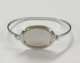 Oval Setting Bracelet Blanks - Silver Color 25x18mm OVAL Hinge Top Cuff Bangle Bracelet Blank Base