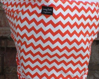 Ready To Ship-ORGANIC COTTON Baby Sling-Orange Chevron on White-One Size Fits All-Newborn to Toddler-DvD Included