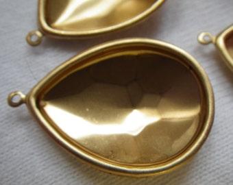 Brass Pear Rivoli 25x18mm Pear Glue-In Settings One Loop 4 Pcs