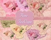INSTANT Download Shabby Rose Teacups Antique Ephemera Clipart No.2 Scrapbooking Digital Chic Graphics Buy 1 Get 1 Free