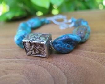 Tibetan Silver Chunky Gemstone Turquoise Beaded Boho Bracelet Sterling Silver - Peace Sign Peacesign -  Summer Fashion Gypsy Women's Jewelry