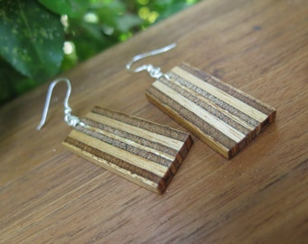 Recycled Mahogany Plywood Wood Earrings - Striped Geometric Rectangle - Woodworking - Sustainable Boho Wooden Jewelry - Sterling Silver