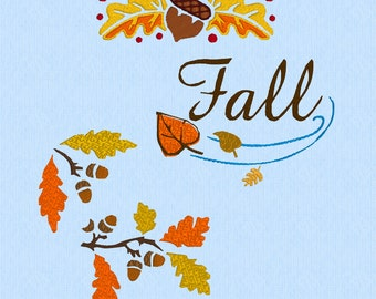Fall Leaves and Acorns - 3 designs - machine embroidery design files