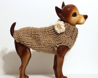 Hand Knit Tan / Camel Dog Sweater w/ Flower