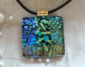 Dichroic Fused Glass Pendant, Glass Jewelry, Gold, Blue, Aqua, Necklace Included, One of a Kind, A2