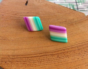 Vintage Pastel and Stripes Earrings