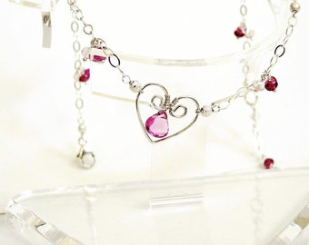 Pink Tourmaline and Sterling Silver Heart Anklet, Handmade Jewelry