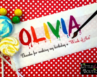 Art Favor Bags, Painting Party, Long Favor bags, Painted Name, Personalized Candy Bags, paint party Favor bags, Birthday party,Treat bags