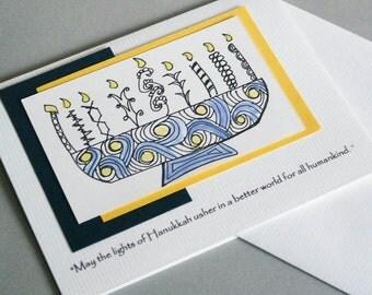 Handmade Chanukah  Card with Hand Drawn Menorah
