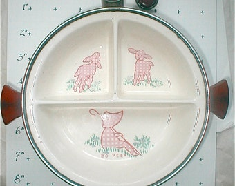 Vintage Excello Chromium Warming Bowl - Bo Peep baby Dish - Bakelite Handles Nursery Dish - Hot Water Divided Bowl Nursery Serving