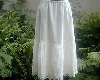Antique Cotton Petticoat - Women Lingerie - Vintage 1900s - Handmade Everyday Undergarment