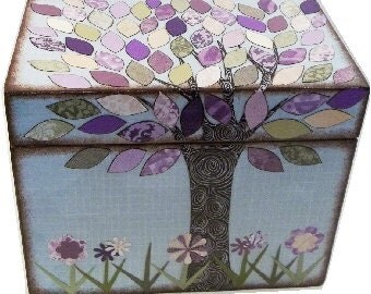 Wedding Guest Book Box Alternative, Decoupaged Box Holds 4x6 Cards Lavender Purple, Cream, Green Tree Box MADE TO ORDER