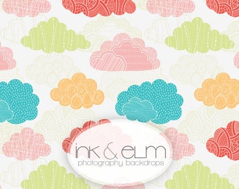 "Photography Backdrop 6ft x 6ft, Modern Clouds Photo Backdrop, Photo Booth backdrop, Studio Photography Childrens Prop ""Party in the Sky"""