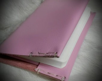 Small Leather Book Journal Cover Soft Pink Colour Small Pocket Size Free Personalization