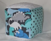 Blue and Gray Dinosaurs Fabric and Minky Block Rattle Toy - SALE