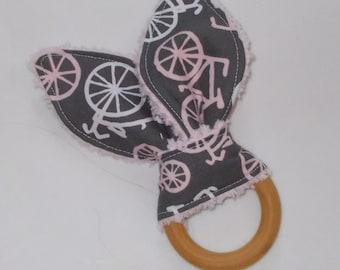 Pink Bicycles Rabbit Ears Wooden Teething Ring