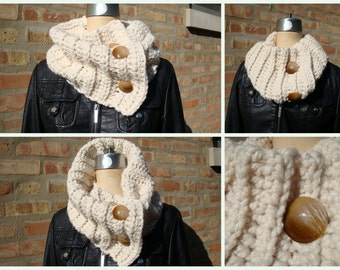 Cream Crochet Scarf / Cowl / Neckwarmer - MultiScarf -Oversized Scarf with Buttons - Wool and Acrylic