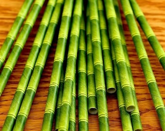 50 Luau Green Bamboo Paper Straws