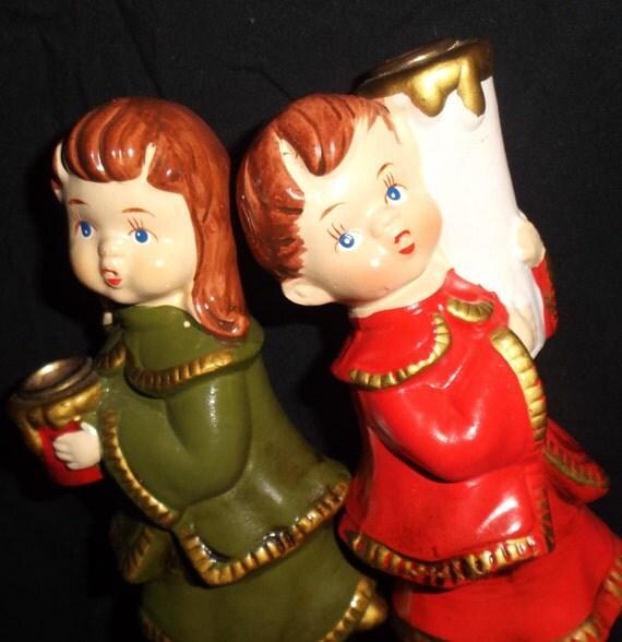 Singing Carolers Candleholders Figurines Vintage By: Vintage Japan Candle Carolers
